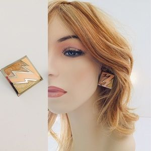 Vintage Enamel Diamond Lightening Post Earrings